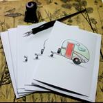 5 Retro caravan CARDS with envelopes. Bon Voyage / Holiday.