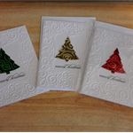 Boxed Set of Handmade  Christmas Tree Greeting, Gift Cards verse & Includes Pen.