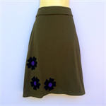 Ladies Retro Olive Green A Line Skirt - size 8-18 - applique, flower, daisy