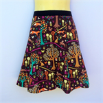 Brown Woodlands Print A Line Skirt - ladies sizes avail - squirrel, tree, fox