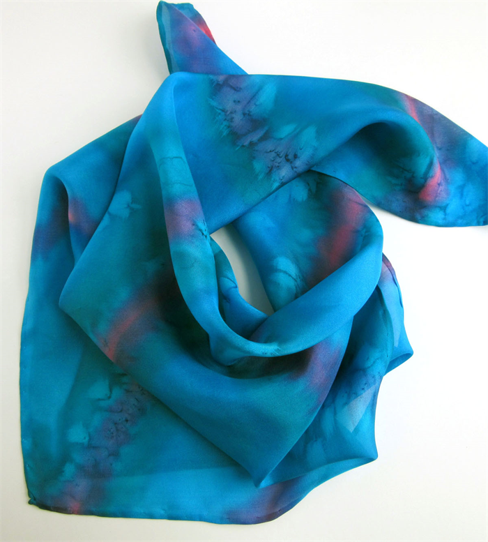 e2c243713f33 ... Hand Painted Pink Silk Bandana Scarf Square Silk Scarves ...