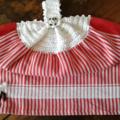 Sheep Motif Crochet Top Tea Towel - Cotton Red Stripe