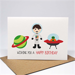 Birthday Card Boy - Outer Space - Astronaut, Planet and Alien Ship - HBC229