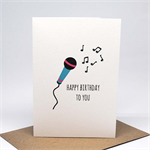 Birthday Card Girl - Turquoise and Pink Microphone - HBC231