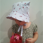 Adjustable & Reversible Baby Sun Bonnet - Blue Checker Cherries