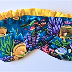 Sleep mask / eye mask.  Blue tropical reef - fish travel gift.