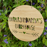 Personalised Wooden Cubby House Sign - Arrow Heart Design