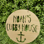 Personalised Wooden Cubby House Sign - Anchor Design