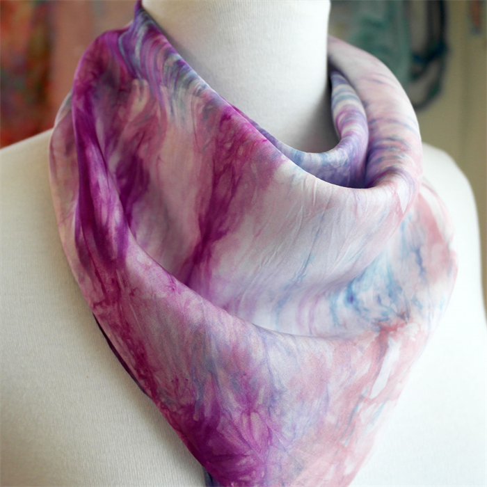 726680280a14 ... Hand Painted Pink Silk Bandana Scarf Square Silk Scarves