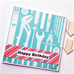 Happy birthday tools spanner pliers aqua teal him male brother son friend card