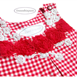 Girl size 2, Romper gingham check, red and white plaid, guipure lace, shabby ros