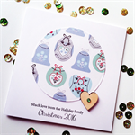 SET OF 5 blue green bauble Merry christmas 2016 laser cut wooden heart card