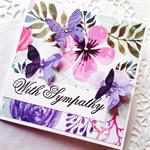 With sympathy floral blooms butterflies mauve pink purple friend card