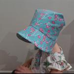 Adjustable & Reversible Baby Sun Bonnet - Blue Cherry Blossoms