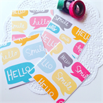 SET OF 4 cards blank fun bright hello smile sassy blank note card