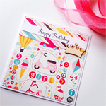Happy Birthday ice-cream bike vespa kite princess crown pink red aqua card
