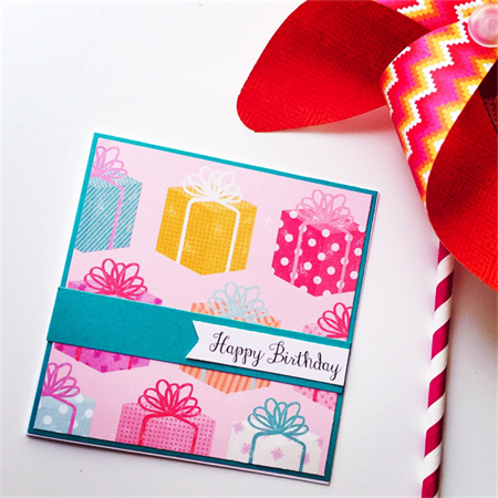 Happy Birthday present gift bow pink polka dot pink teal aqua yellow friend card