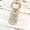 Customised Teacher Gift - Hand Stamped Keyring - Teacher Christmas Gift