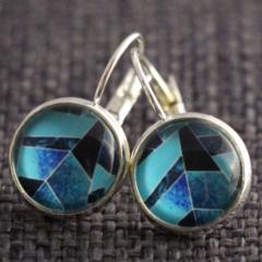 Geo Blue Hues ~ Lever Back Earrings