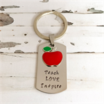 Handmade Teacher Gift - Personalised Teacher Gift - Hand Stamped Keyring