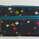 Twin zip purse - stars on grey with various colour zips (free postage)