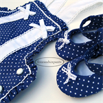 Romper and Shoes, 6mo Baby Girl, French Navy, White Polka Dot, cluny lace bows