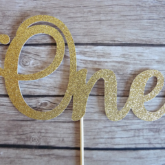 ONE Cake Topper (gold glitter) - 1st Birthday Cake Decor, First Birthday Party