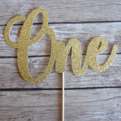 ONE Cake Topper - 1st Birthday Cake Decor, First Birthday Party - GOLD glitter