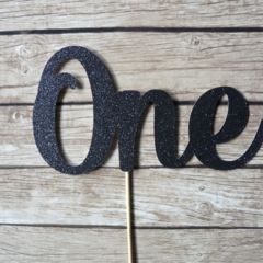 ONE Cake Topper - Black Glitter | 1st Birthday Cake Decor, First Birthday Party