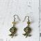 Antique bronze rose flower earrings