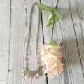 Necklace, silver Chain with pastel pink beads.