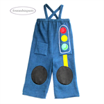 Grandpa Pants, 2yo Boy Traffic Light Applique, green yellow red, blue fleece