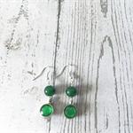 Green double beaded silver earrings
