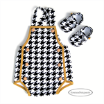 Romper and shoes, NBorn Baby boy, Houndstooth black white gold, playsuit sunsuit
