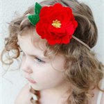 """""""A Bloom for Bella"""" large felt flower & nylon headband in red and green"""