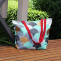 Blue, Teal, Grey & Gold Canvas Tote Bag