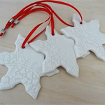 White Christmas decorations. Ceramic snowflake ornaments. Teachers gift.