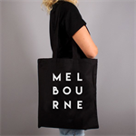 Melbourne Typography Tote Bag Black