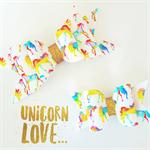 Rainbow Unicorn SMALL - artisan felt fabric bow hair clip  (1 x 6.5cm clip)