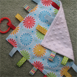 Baby Taggie Blanket - Blue Flowers - Minkee - Girl
