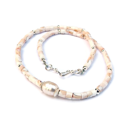 Pearl, Sterling Silver and Shell Necklace