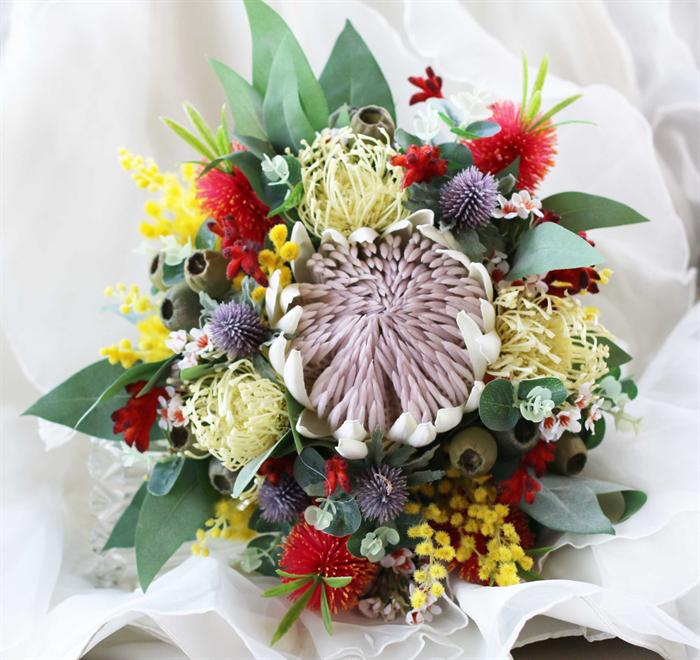 Native Flower Wedding Bouquet Protea Banksia Wattle