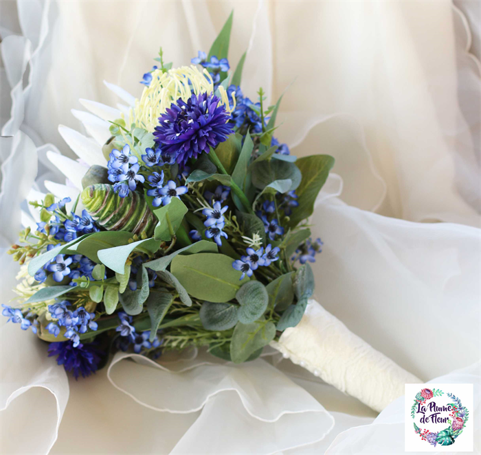 A Single Bloom Protea Bouquet: Blue And White Wedding Bouquet. Rustic Bouquet With Protea