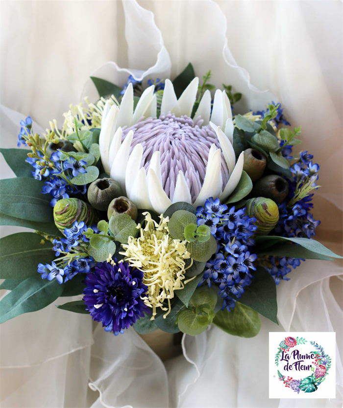 Protea Wedding Flowers: Blue And White Wedding Bouquet. Rustic Bouquet With Protea