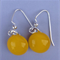 Fused Glass Danglies Earrings ~ Yellow ~ Sterling Silver