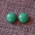 Dark Green Glass~Stud Earrings