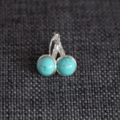 Turquoise Cabochon ~ Silver Lever Back Earrings