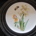Hand decorated with vintage decals pair of bone china plates