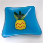 It's Pineapples : Fused Glass Trinket Bowl, Dish, Ring Bowl