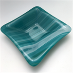 Teal Fused Glass Trinket Bowl, Dish, Ring Bowl